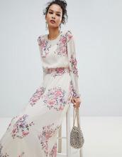 Miss Selfridge   Сетчатое платье макси с высоким воротом и цветочным принтом Miss Selfridge - Розовый   Clouty