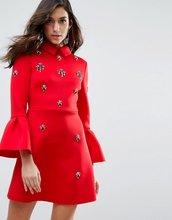 ASOS | Платье мини А-силуэта с декоративной отделкой ASOS - Красный | Clouty