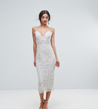 ASOS   Кружевное платье-футляр миди на бретельках ASOS TALL - Белый   Clouty