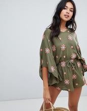 Anmol | Пляжный oversize-ромпер с цветочной вышивкой Anmol - Зеленый | Clouty