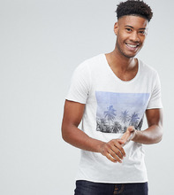 Selected Homme   Футболка с принтом пальм Selected Homme - Белый   Clouty