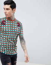 ASOS   Длинная свободная футболка с принтом и вышивкой ASOS DESIGN - Мульти   Clouty