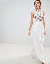 Frock And Frill | Платье макси с высоким воротом и разноцветной отделкой Frock & Frill | Clouty