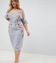 ASOS | Платье-футляр с вышивкой и вырезами на плечах ASOS DESIGN Curve - Синий | Clouty