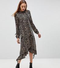 ASOS   Платье миди с оборкой и леопардовым принтом ASOS TALL - Мульти   Clouty