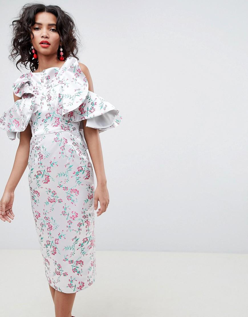 ASOS   Розовый Жаккардовое платье миди с цветочным рисунком и оборками ASOS EDITION   Clouty