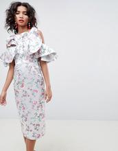 ASOS | Жаккардовое платье миди с цветочным рисунком и оборками ASOS EDITION | Clouty
