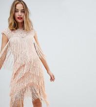 ASOS   Платье миди с пайетками и бахромой ASOS DESIGN Petite - Розовый   Clouty