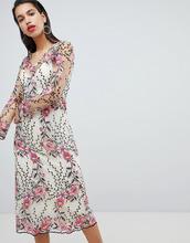 Vila | Платье миди с вышивкой Vila - Мульти | Clouty