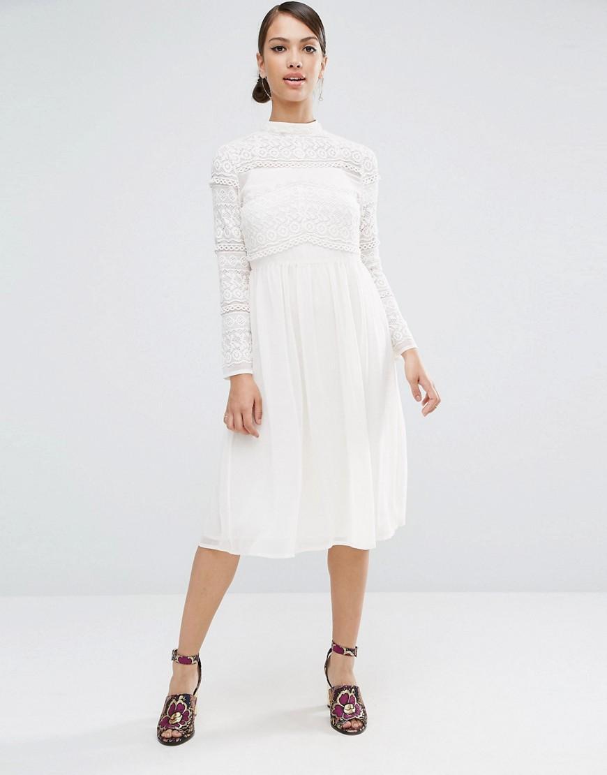 5f9ae4b3f51 Платье миди с кружевными вставками ASOS - Белый CL000002677548