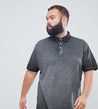 Replika | Черная футболка-поло из ткани пике с короткими рукавами и выцветшим эффектом Replika Plus - Черный | Clouty