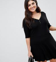 ASOS   Короткое приталенное платье на пуговицах с V-образным вырезом ASOS DESIGN Curve - Черный   Clouty