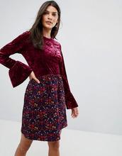 Anna Sui | Платье из мятого бархата с жаккардовой юбкой в цветочек Anna Sui | Clouty