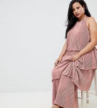 ASOS | Ярусное плиссированное платье макси ASOS DESIGN Curve - Бежевый | Clouty