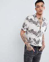 AllSaints | Рубашка с короткими рукавами и принтом AllSaints - Кремовый | Clouty