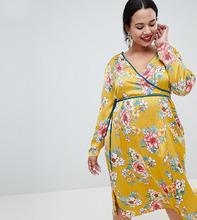 Missguided | Облегающее атласное платье с запахом Missguided Plus - Желтый | Clouty
