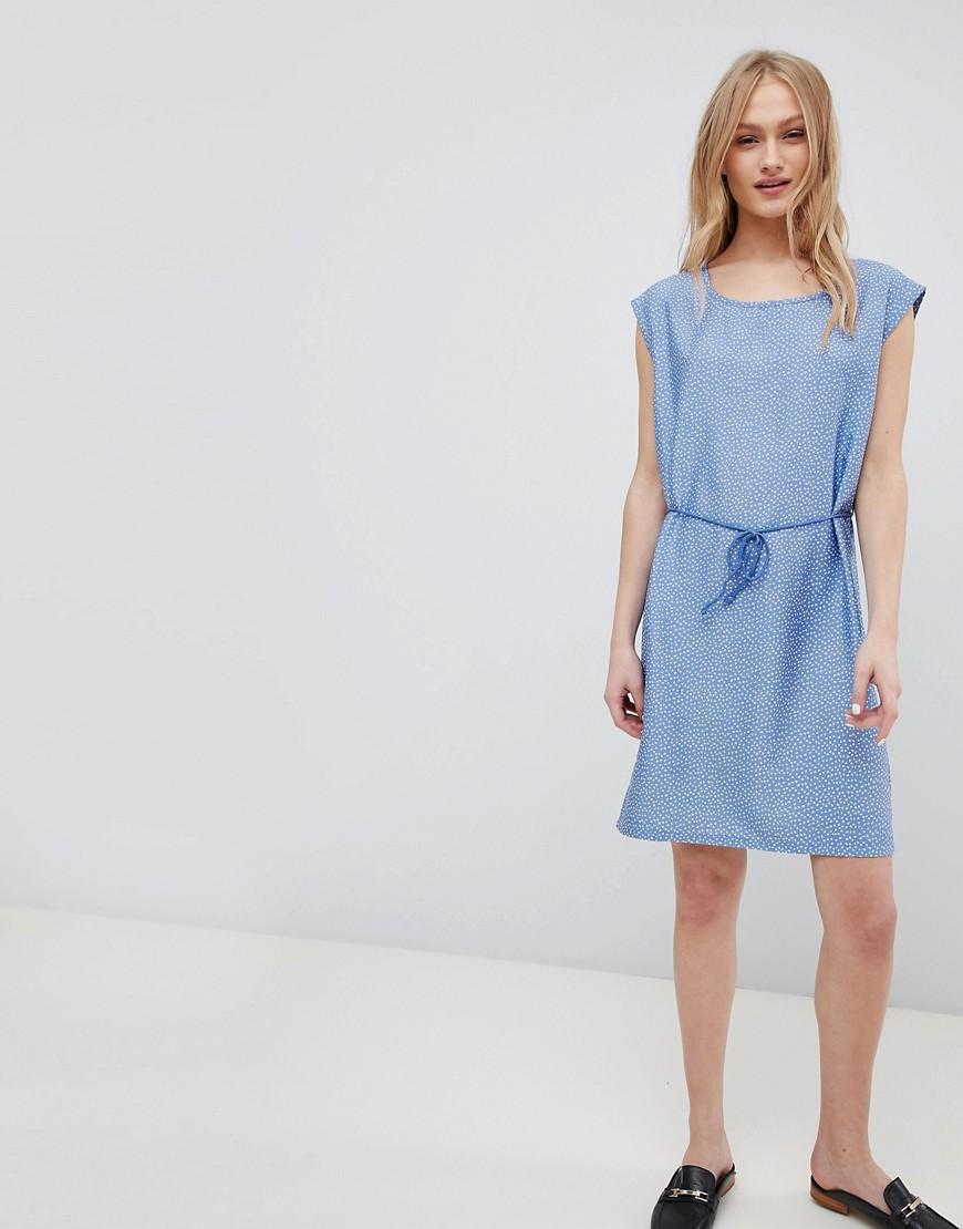 Blend She | Джинсовое платье с поясом и принтом Blend She Mally - Синий | Clouty
