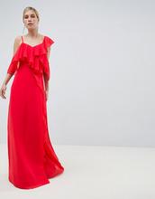 ASOS   Платье макси с запахом и оборками ASOS DESIGN - Красный   Clouty