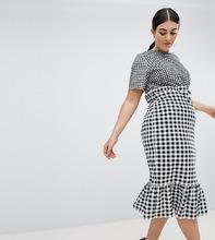 ASOS   Платье миди в контрастную клетку с баской ASOS DESIGN Curve - Мульти   Clouty