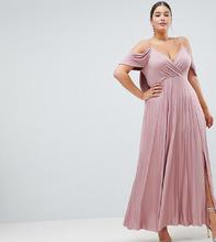 ASOS   Плиссированное платье макси с открытыми плечами ASOS DESIGN Curve   Clouty