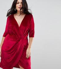 Club L   Велюровое платье с запахом Club L Plus - Красный   Clouty