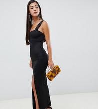 ASOS   Платье макси с квадратным вырезом и высоким разрезом ASOS DESIGN Petit   Clouty