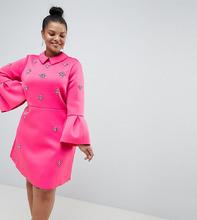 ASOS   Платье-трапеция мини ASOS DESIGN Curve - Розовый   Clouty