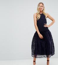 ASOS   Кружевное платье миди с заниженной талией ASOS TALL - Темно-синий   Clouty