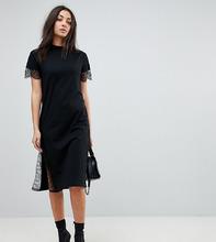 ASOS   Платье-футболка миди с кружевными вставками ASOS TALL - Черный   Clouty