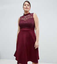 AX Paris Plus   Кружевное короткое приталенное платье 2-в-1 AX Paris Plus - Красный   Clouty