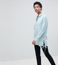 Noisy May | Длинная рубашка с завязкой Noisy May Tall - Синий | Clouty