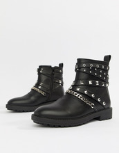 Raid | Черные байкерские ботинки с заклепками RAID Kacey - Черный | Clouty