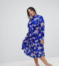 ASOS   Яркое платье миди с высоким воротником и цветочным принтом ASOS CURVE   Clouty