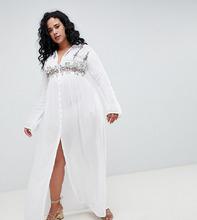 Boohoo | Платье-рубашка макси с вышивкой Boohoo Plus - Белый | Clouty