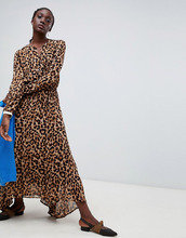 Essentiel Antwerp | Платье миди с леопардовым принтом Essentiel Antwerp Rus - Коричневый | Clouty