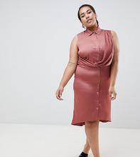 River Island | Платье-рубашка с запахом River Island Plus - Бежевый | Clouty