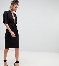 ASOS   Платье миди с поясом оби и рукавами-кимоно ASOS Tall - Черный   Clouty