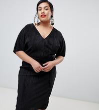 River Island | Черное платье-кимоно с плиссировкой River Island Plus - Черный | Clouty