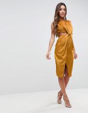 ASOS | Атласное платье-футляр с вырезами ASOS - Золотой | Clouty