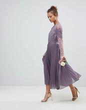 ASOS | Кружевное плиссированное платье миди с длинными рукавами ASOS | Clouty