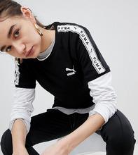 Puma | Черная футболка с лентой на рукавах Puma эксклюзивно для ASOS - Черный | Clouty