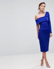 ASOS   Облегающее платье миди на одно плечо ASOS - Синий   Clouty