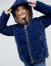 ASOS   Бархатная дутая куртка в горошек ASOS DESIGN - Темно-синий   Clouty