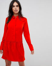 Vila | Платье-рубашка с заниженной талией Vila - Красный | Clouty