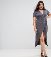 Club L | Платье миди с короткими рукавами и запахом Club L Plus - Серый | Clouty