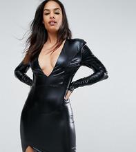 Club L | Платье мини с V-образным вырезом и подплечниками Club L - Черный | Clouty