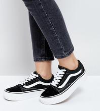 VANS | Черно-белые кроссовки на платформе Vans Old Skool - Черный | Clouty