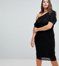 ASOS   Кружевное платье миди со складками на плечах ASOS DESIGN Curve   Clouty