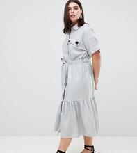 ASOS   Платье-рубашка макси с поясом и оборкой по краю ASOS DESIGN Curve   Clouty