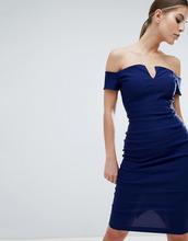 Vesper | Платье-футляр миди с глубоким вырезом Vesper - Темно-синий | Clouty